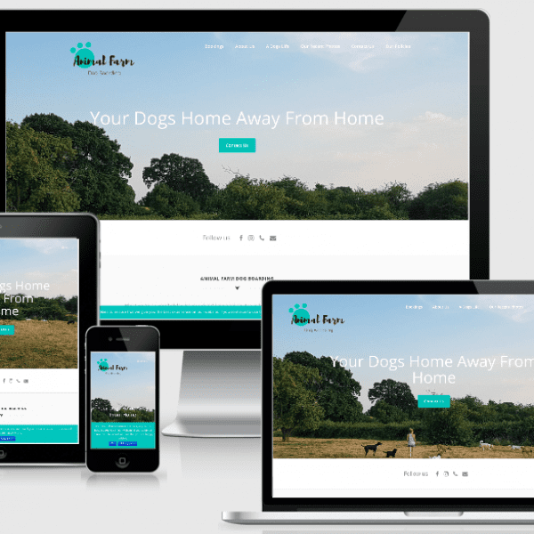 Website design and build by Hutch House Digital Media for Animal Farm Dog boarding