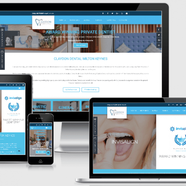 Website design and build by Hutch House Digital Media for Claydon Dental